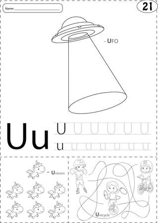 phonetic: Cartoon UFO, unicorn and boy on the unicycle. Alphabet tracing worksheet: writing A-Z, coloring book and educational game for kids