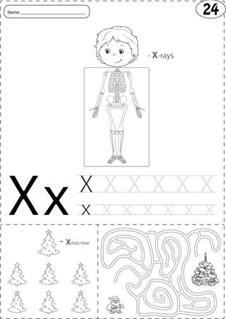 sceleton: Cartoon x-rays sceleton and xmas tree with Santa. Alphabet tracing worksheet: writing A-Z, coloring book and educational game for kids Illustration