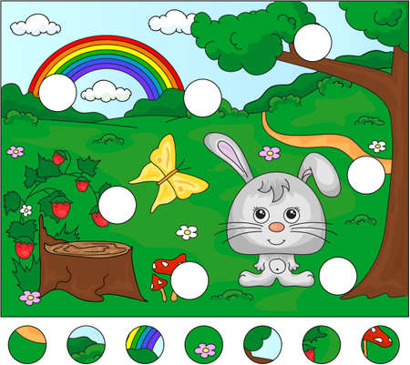 Forest glade with a hare, stub, strawberries, butterfly, trees, rainbow and flowers. Complete the puzzle and find the missing parts of the picture. Vector illustration. Educational game for kids