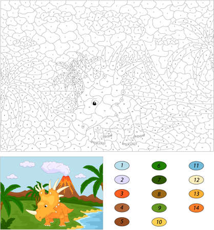 coloration: Funny cute styracosaurus on the background of a prehistoric nature. Color by number educational game for kids. Illustration for schoolchild and preschool
