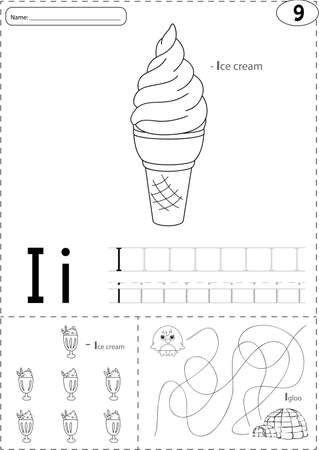 phonetic: Cartoon ice cream and igloo. Alphabet tracing worksheet: writing A-Z, coloring book and educational game for kids