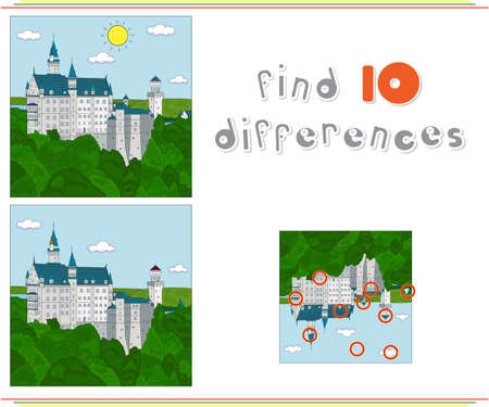 find: Neuschwanstein Castle. Educational game for kids: find ten differences
