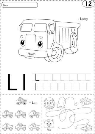Cartoon Drachen Und LKW. Alphabet-Tracing-Arbeitsblatt: Schreiben AZ ...