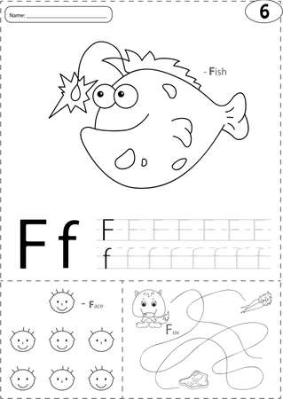 phonetic: Cartoon fish, face and fox. Alphabet tracing worksheet: writing A-Z, coloring book and educational game for kids Illustration