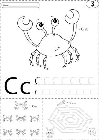 Cartoon crab and hare with carrot. Alphabet tracing worksheet: writing A-Z, coloring book and educational game for kids