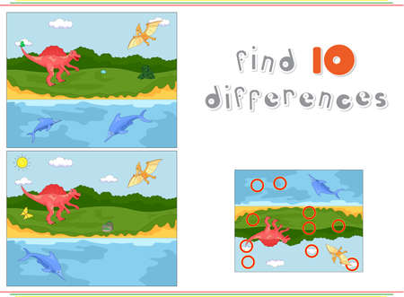 pterodactyl: Funny cute pterodactyl, ichthyosaur and spinosaurus. Educational game for kids: find ten differences