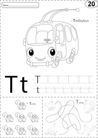 phonetic: Cartoon trolleybus, turtle and turkey. Alphabet tracing worksheet: writing A-Z, coloring book and educational game for kids Illustration