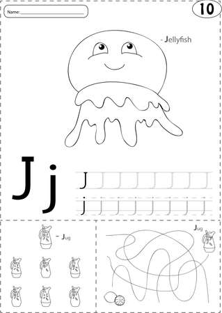 phonetic: Cartoon jellyfish and jug of lemonade. Alphabet tracing worksheet: writing A-Z, coloring book and educational game for kids