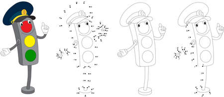 gree: Cartoon traffic light. Vector illustration. Coloring and dot to dot educational game for kids Illustration