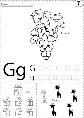 g giraffe: Cartoon grapes, gift and giraffe. Alphabet tracing worksheet: writing A-Z, coloring book and educational game for kids
