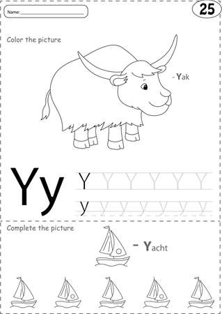 yak: Cartoon yak and yacht. Alphabet tracing worksheet: writing A-Z, coloring book and educational game for kids
