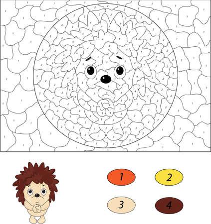 beg: Cartoon hedgehog pleads. Color by number educational game for kids. Illustration for schoolchild and preschool Illustration
