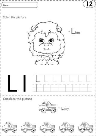 phonetic: Cartoon lorry and lion. Alphabet tracing worksheet: writing A-Z, coloring book and educational game for kids Illustration