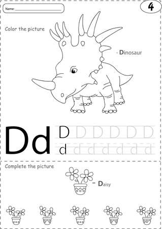 phonetic: Cartoon dinosaur and daisy. Alphabet tracing worksheet: writing A-Z, coloring book and educational game for kids