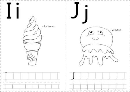 cartoon ice cream: Cartoon ice cream and jellyfish. Alphabet tracing worksheet: writing A-Z, coloring book and educational game for kids Illustration