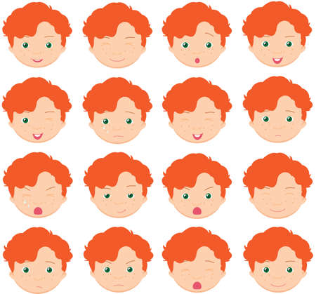 red haired: Red-haired boy emotions: joy, surprise, fear, sadness, sorrow, crying, laughing, cunning wink. Vector cartoon illustration