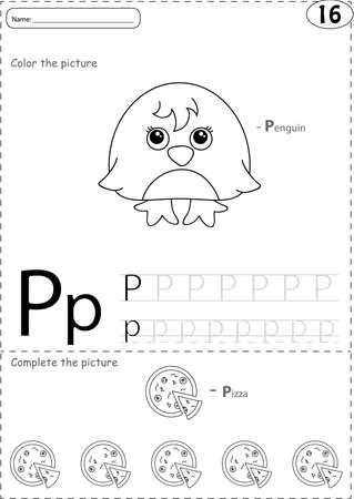 phonetic: Cartoon pizza and penguin. Alphabet tracing worksheet: writing A-Z, coloring book and educational game for kids