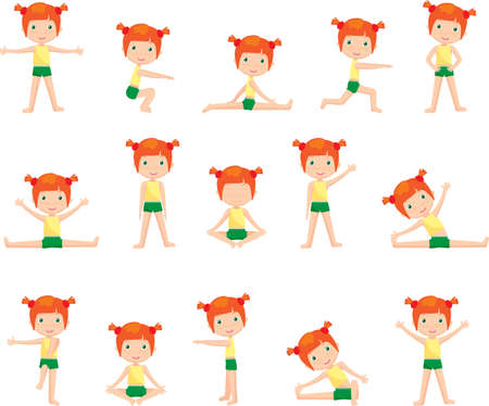 Red-haired girl doing morning work-out Ilustrace