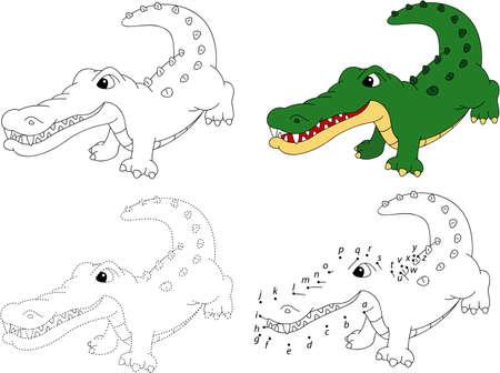 만화 악어. 색칠하기 책과 점은 아이들을위한 교육 게임을 점하는