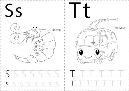 phonetic: Cartoon shrimp and trolleybus. Alphabet tracing worksheet: writing A-Z, coloring book and educational game for kids