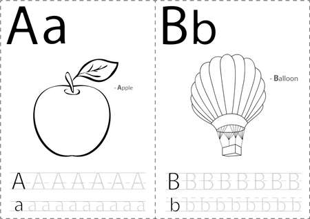 Cartoon Apple And Balloon. Alphabet Tracing Worksheet: Writing ...