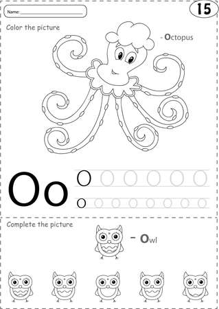 phonetic: Cartoon octopus and owl. Alphabet tracing worksheet: writing A-Z, coloring book and educational game for kids Illustration