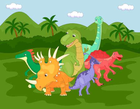 tyrannosaur: Styracosaurus, spinosaurus, tyrannosaur, stegosaurus and parasaurolophus. Vector illustration