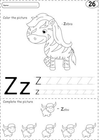 phonetic: Cartoon zebra and zebu. Alphabet tracing worksheet: writing A-Z, coloring book and educational game for kids