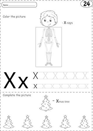 phonetic: Cartoon x-rays sceleton and xmas tree. Alphabet tracing worksheet: writing A-Z, coloring book and educational game for kids Illustration