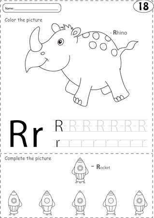 phonetic: Cartoon rhino and rocket. Alphabet tracing worksheet: writing A-Z, coloring book and educational game for kids