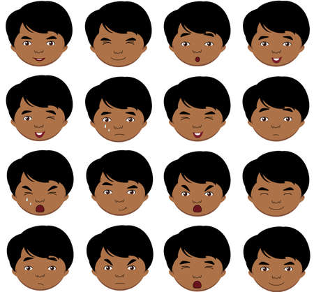 cunning: Indian boy emotions: joy, surprise, fear, sadness, sorrow, crying, laughing, cunning wink. Vector cartoon illustration Illustration