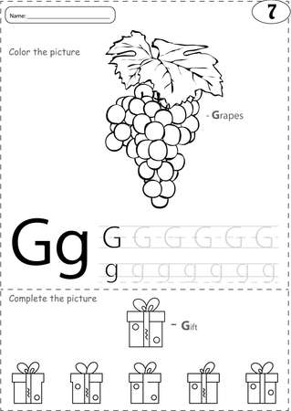 phonetic: Cartoon grapes and gift. Alphabet tracing worksheet: writing A-Z, coloring book and educational game for kids