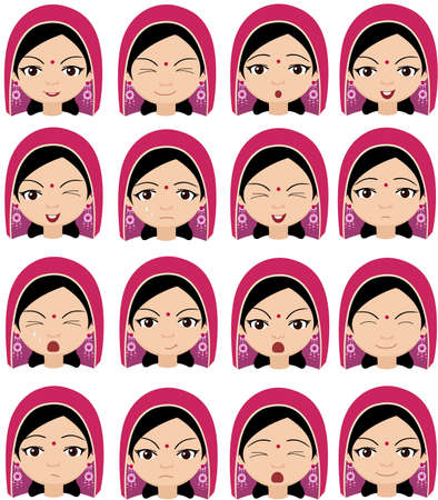 cunning: Muslim girl in a headdress emotions: joy, surprise, fear, sadness, sorrow, crying, laughing, cunning wink. Vector cartoon illustration