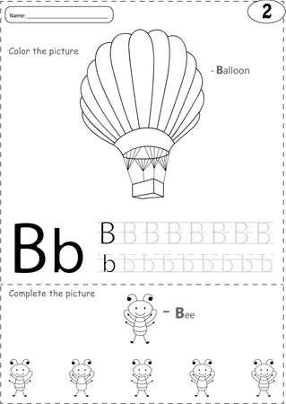 phonetic: Cartoon balloon and bee. Alphabet tracing worksheet: writing A-Z, coloring book and educational game for kids