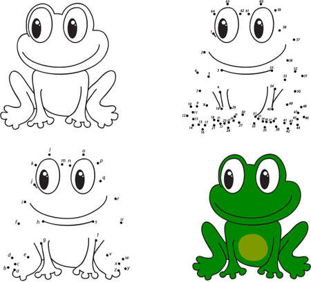 Cartoon frog. Coloring book and dot to dot educational game for kids Illustration