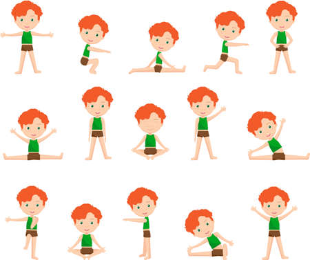 Red-haired boy doing morning work-out