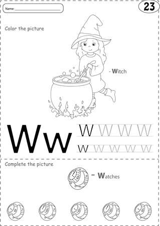 phonetic: Cartoon witch  and watches. Alphabet tracing worksheet: writing A-Z, coloring book and educational game for kids