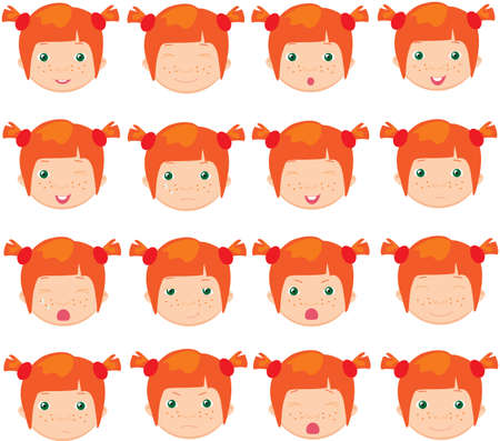 red haired girl: Red-haired girl emotions: joy, surprise, fear, sadness, sorrow, crying, laughing, cunning wink. Vector cartoon illustration
