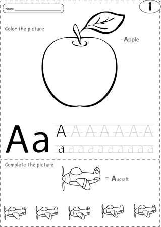phonetic: Cartoon apple and aircraft. Alphabet tracing worksheet: writing A-Z, coloring book and educational game for kids