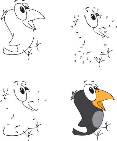 jackdaw: Cartoon crow. Coloring book and dot to dot educational game for kids