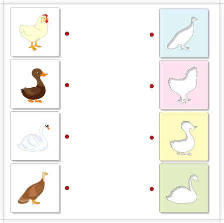 Pollo, pato, pavo y cisne. Juego educativo para los niños. Elija las siluetas correctas en el lado opuesto y conectar los puntos Ilustración de vector