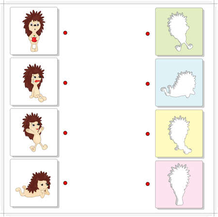 fascinated: Cartoon hedgehogs. Educational game for kids. Choose the correct silhouettes on the opposite side and connect the points Illustration