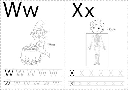 sceleton: Cartoon witch and x-rays. Alphabet tracing worksheet: writing A-Z, coloring book and educational game for kids