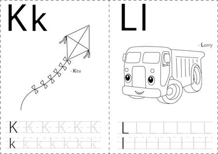 phonetic: Cartoon kite and lorry. Alphabet tracing worksheet: writing A-Z, coloring book and educational game for kids Illustration
