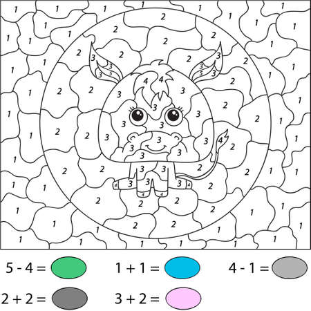 educational problem solving: Cartoon donkey. Color by number educational game for schoolchild and preschool kids
