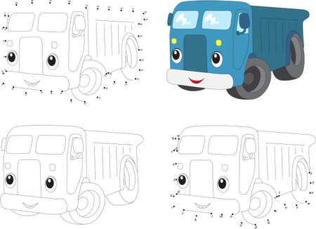 Cartoon blue lorry. Coloring book and dot to dot educational game for kids