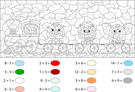 educational problem solving: Funny cartoon train with lion, elephant and rhino. Color by number educational game for schoolchild and preschool kids