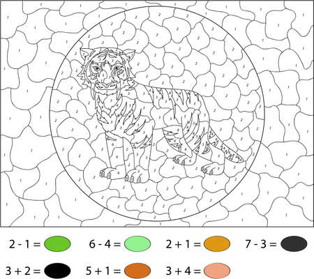 Cartoon saber-toothed tiger. Color by number educational game for schoolchild and preschool kids