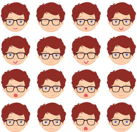 cunning: Boy with glasses emotions: joy, surprise, fear, sadness, sorrow, crying, laughing, cunning wink. Vector cartoon illustration