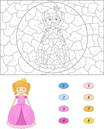 niño preescolar: princesa de dibujos animados. Color por el número de juegos educativos para los niños. Ilustración para el escolar y preescolar Vectores